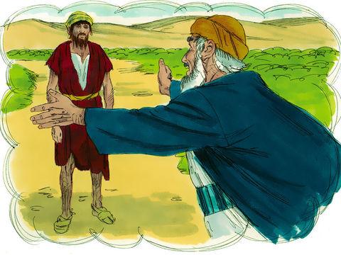La parabole du fils prodigue: Un homme jeune demande sa part d'héritage qu'il dilapide dans une vie de débauche. Quand survient une famine, il se met au service d'un homme qui l'envoie dans les champs garder les porcs. Il a tellement faim !
