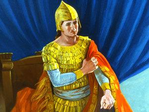 Après avoir entendu la destruction prévue par Dieu de la ville de Ninive le roi déchire ses vêtements et se couvre d'un sac et de cendres.