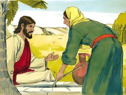 Jésus s'adresse à une femme Samaritaine alors que les Juifs haïssaient les Samaritains et avaient peu de considération pour les femmes. Il lui demande de l'eau.