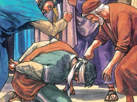 Les chefs religieux juifs utilisent de faux témoignages contre Jésus, le Fils de Dieu et Sauveur de l'humanité, alors qu'ils l'interrogent comme un criminel, lui crachent à la figure, le frappe à coups de poing, lui donnent des gifles et se moquent de lui