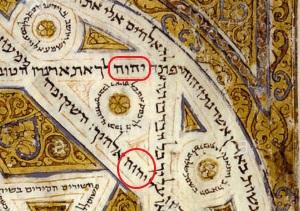 Codex de Leningrad - page décorée de dessins géométriques avec le Tétragramme YHWH 5 fois