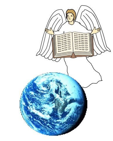 """Un ange vole haut dans les cieux et annonce un Évangile éternel aux habitants de la terre, à toute nation, à toute tribu. Evangile signifie """"Bonne nouvelle"""". L'ange a une bonne nouvelle à annoncer à tous les habitants de la Terre !"""