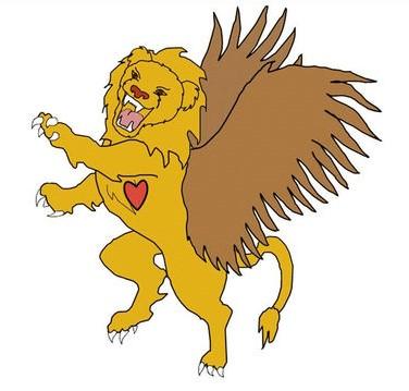 4 bêtes qui sortent de la mer dans la prophétie de Daniel. La première ressemble à un lion, elle correspond à l'empire babylonien.