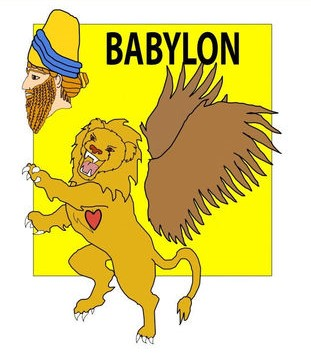 Le lion est le symbole de l'empire babylonien. Il porte des ailes qui lui sont arrachées et on lui donne un coeur.