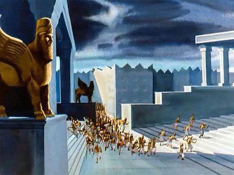 Les Babyloniens ne livreront même pas bataille, ils seront complètement surpris par l'attaque des Perses. D'ailleurs, le roi Belshatsar est en train de festoyer, utilisant les coupes d'or du temple de Jéhovah pour boire du vin et célébrer les faux dieux.