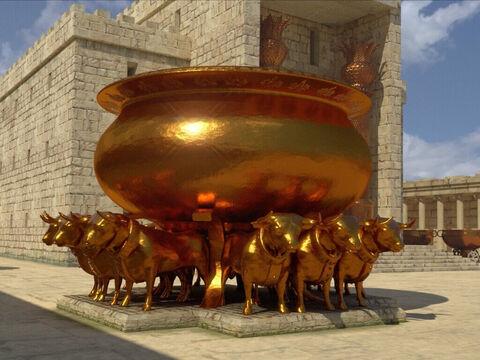 Lorsque les prêtres amènent l'arche de l'alliance dans le lieu très-saint, sous les ailes des chérubins, et que tous les Lévites musiciens se mettent à jouer de leur instrument (cymbales, luths, harpes et 120 trompettes !), le temple se remplit d'une nuée