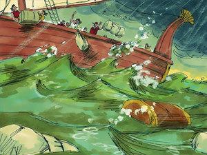 Jonas fuit pour ne pas annoncer la destruction aux habitants de NInive. Dieu envoie une tempête.