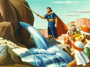 Alors que les Israélites se plaignent et se soulèvent contre Moïse et Aaron à cause du manque d'eau à Meriba, Dieu fait couler miraculeusement de l'eau d'un rocher.