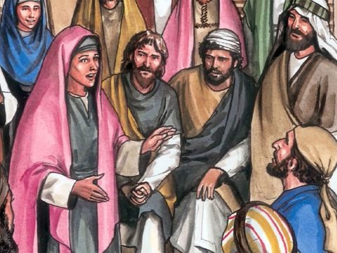 Marie de Magdala avertit les 11 apôtres que Jésus est vivant, il a ressuscité.