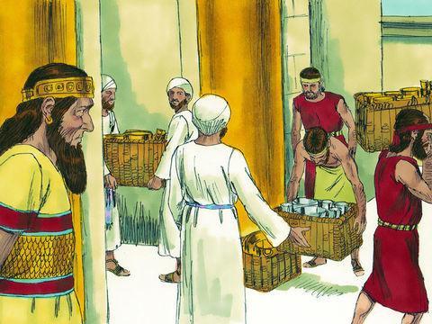 Très rapidement, le roi perse, Cyrus le grand, permet aux Juifs en captivité à Babylone de retourner à Jérusalem en emportant avec eux les ustensiles du Temple de Yahvé qu'ils doivent reconstruire.