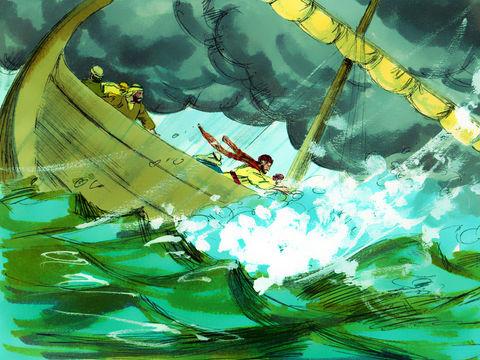 Jésus a calmé une tempête sur le lac de Tibériade. Jésus a montré sa puissance en contrôlant les éléments naturels comme une tempête.