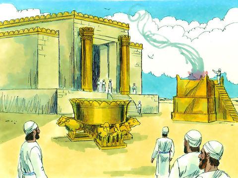 Dans le parvis, la cuve des ablutions en bronze poli, de 5m de diamètre, de 8 cm d'épaisseur et reposant sur 12 bœufs, peut contenir 44'000 litres (1 Rois 7 :23-26 ; 44,45). L'autel en bronze est long de 10m, large de 10m et haut de 5m.