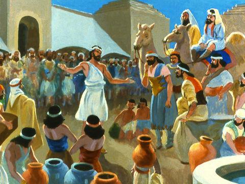 Le roi de Ninive et tous ses habitants croient en Dieu, se repentent humblement de leurs mauvaises actions, s'habillent de sacs et se couvrent de cendres en jeûnant et en implorant le Dieu du ciel.