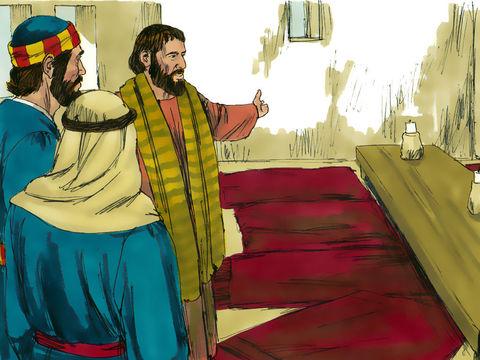 Pierre et Jean préparent le repas de la dernière Pâque. Les chrétiens devraient commémorer ensuite, le 14 Nisan, la mort de Jésus-Christ, base de l'espérance chrétienne.
