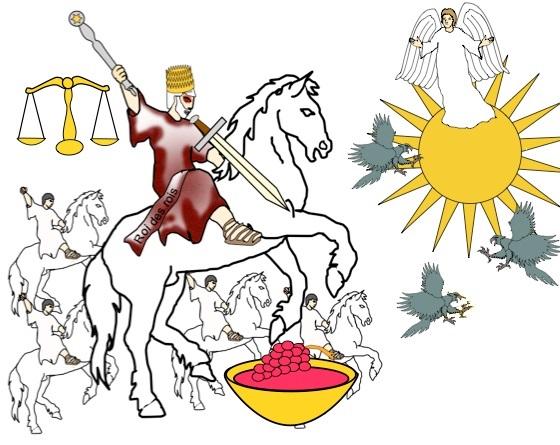 Celui qui monte le cheval est Jésus-Christ, le chef des anges, le Roi des rois, Fidèle et Véritable, qui juge et combat avec justice. De sa bouche sort une épée aiguë à deux tranchants pour frapper les nations.