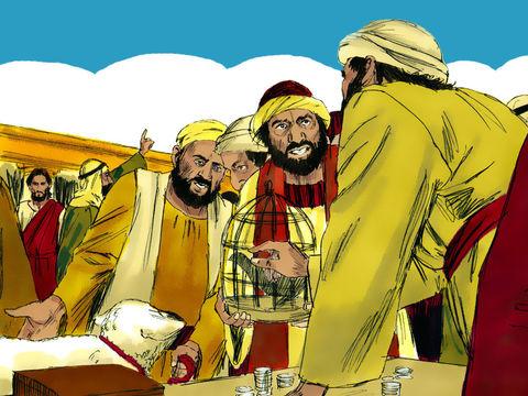 Dans le Temple de Jérusalem, les marchands vendaient des pigeons, animal des pauvres pour le sacrifice, et exploitaient avec avidité les plus pauvres. Jésus les chasse du Temple de manière autoritaire et énergique.