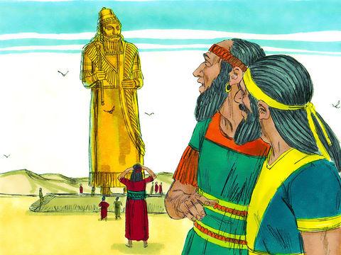 Le roi Nébucadnetsar décide de faire construire une immense statue en or mesurant 30 m de hauteur et 3 m de largeur. Cette statue qui est peut-être une représentation du roi lui-même permet sans doute d'unifier le peuple et de tester son obéissance au roi