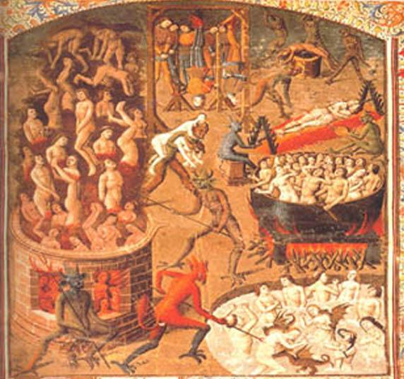 Une représentation de l'enfer sur un manuscrit médiéval fait penser à l'Apocalypse de Pierre, écrit apocryphe décrivant l'enfer de feu, lieu de tourments abominables, de manière très détaillées!