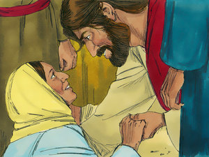 """Jésus a guéri une femme avec un flux de sang incessant. Il lui dit: """"Ma fille soit guérie de ta cruelle maladie."""""""