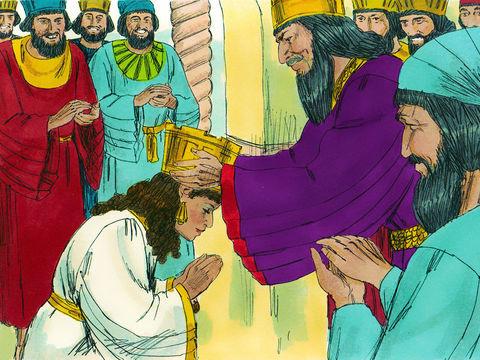 Le roi préfère Esther à toutes les autres femmes. Il met la couronne royale sur sa tête et la proclame reine à la place de Vashti. Un grand banquet est alors organisé en l'honneur d'Esther. Le roi accorde des dispenses d'impôts et distribue généreusement.