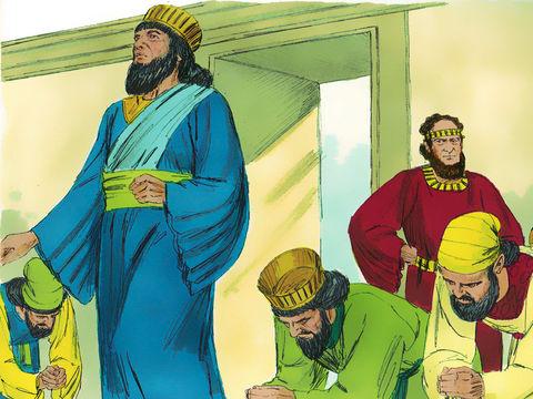 Haman, l'orgueilleux ministre du roi Assuérus exige qu'on se prosterne devant lui. Mardochée refuse.