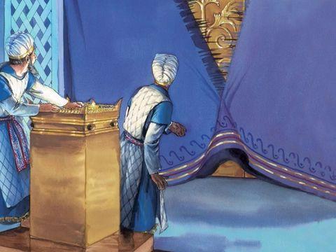 Le grand-prêtre, seul autorisé à entrer dans le lieu Très Saint du Tabernacle, préfigurait Jésus qui est entré une fois pour toutes devant Dieu avec la valeur de son sang sacrificiel. A sa mort, le rideau qui sépare le Saint du Très Saint se déchire.
