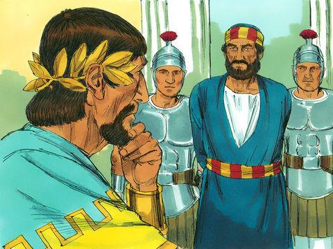 Le roi Hérode fait mettre à mort l'apôtre Jacques, frère de Jean. Puis, comme il voit que cela plaît aux Juifs, il fait aussi arrêter l'apôtre Pierre.