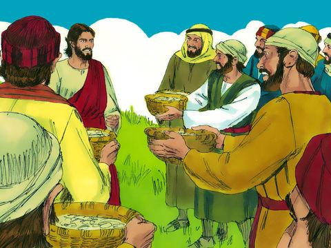 Il restait à la fin 7 corbeilles pleines de morceaux de pain après que Jésus a distribué le pain à la foule de personnes affamées.