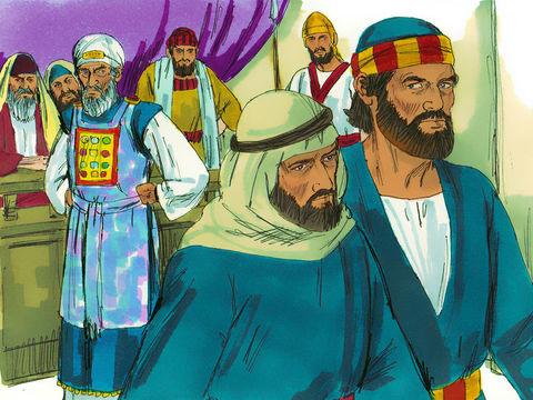 Jean et Pierre quittent le sanhédrin sans avoir l'intention d'obéir aux chefs religieux juifs qui leur interdisent de parler au nom de Jésus.