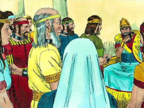 Nébucadnestar emporte les trésors de la maison de Jéhovah ainsi que ceux du palais royal. 10'000 Juifs sont emmenés en exil à Babylone dont le roi Jojakin, sa mère, ses femmes, ses serviteurs, tous les hommes vaillants, les charpentiers et les serruriers.