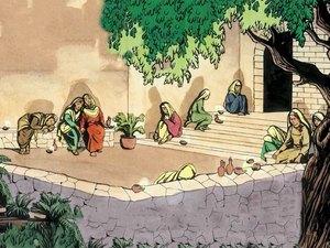 Comme le marié tardait, toutes s'assoupirent et s'endormirent. Au milieu de la nuit, on cria: 'Voici le marié, allez à sa rencontre!' Les sottes avaient oublié l'huile dans leur lampe. Les avisées étaient prêtes pour accueillir Jésus, l'époux.