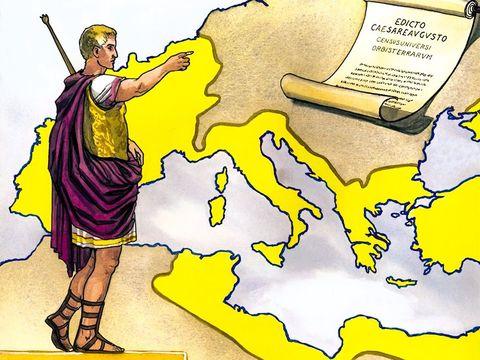 Peu avant la naissance de Jésus, l'empereur Auguste émet un décret ordonnant le recensement de toute la population. Joseph et Marie se rendent donc à Béthléem pour se faire recenser et c'est à ce moment-là que Marie accouche.