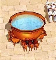 Bassin avec 12 bœufs dans le parvis du Temple de Jérusalem. Tous les ustensiles et meubles et accessoires du Temple de Jéhovah seront emmenés à Babylone.
