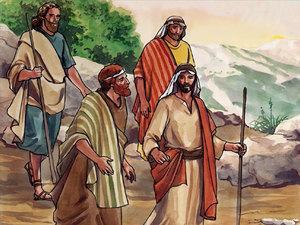 Pierre, Jacques et Jean assistent à la transfiguration de Jésus dans une montagne