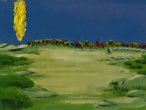 Une colonne de feu guide le peuple d'Israël la nuit à travers le désert