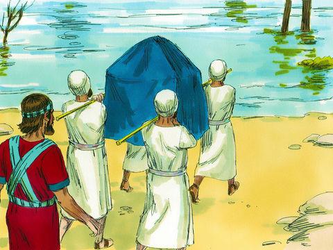 La traversée du Jourdain par Josué et le peuple d'Israël, les prêtres portant l'arche de l'alliance