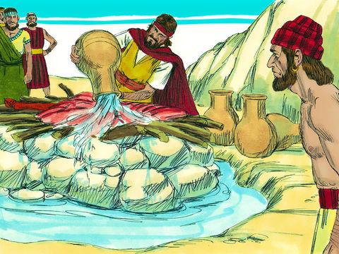 Elie verse 12 cruches d'eau sur l'autel formé de 12 pierres. Puis il prie et invoque l'Éternel, Jéhovah ou Yahvé, le vrai Dieu.