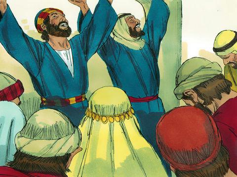 Par l'imposition des mains des deux apôtres, les Samaritains reçoivent l'Esprit saint et le pouvoir de réaliser des miracles.