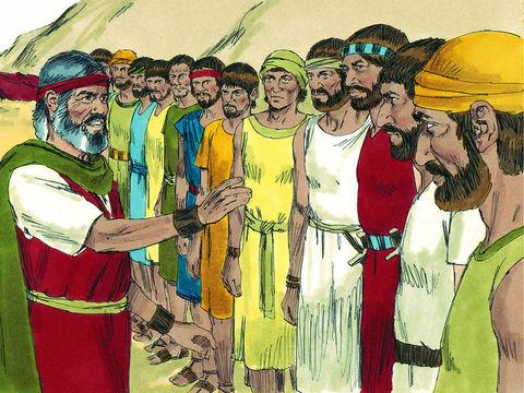 Moïse envoie 12 espions explorer la terre de Canaan, la terre promise. Leur exploration va durer 40 jours.