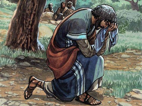 Dans le jardin de Gethsémané, sachant qu'on va venir l'arrêter pour le mettre à mort, Jésus prie intensément car il sait qu'il porte le salut de tous les humains sur ses épaules. Un ange vient le fortifier.