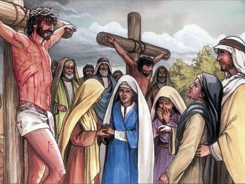 Au pied de la croix, de nombreuses femmes qui ont accompagné Jésus depuis la Galilée démontrent au moment le plus difficile et le plus crucial de sa vie terrestre bien plus de fidélité que ses propres apôtres.