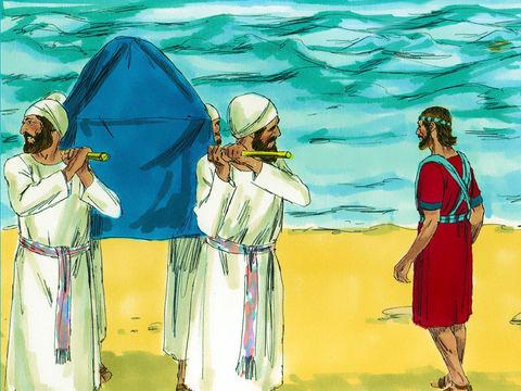 Josué et le peuple viennent de traverser miraculeusement le Jourdain. Ils vont conquérir Jéricho.