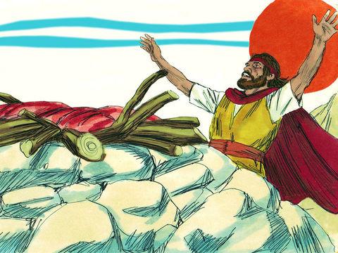 Seul l'autel dressé par Elie, bien qu'imbibé de 12 cruches d'eau, reçoit une réponse. Le feu de Jéhovah brûle l'holocauste, le bois, les pierres, la terre et toute l'eau dans le fossé.