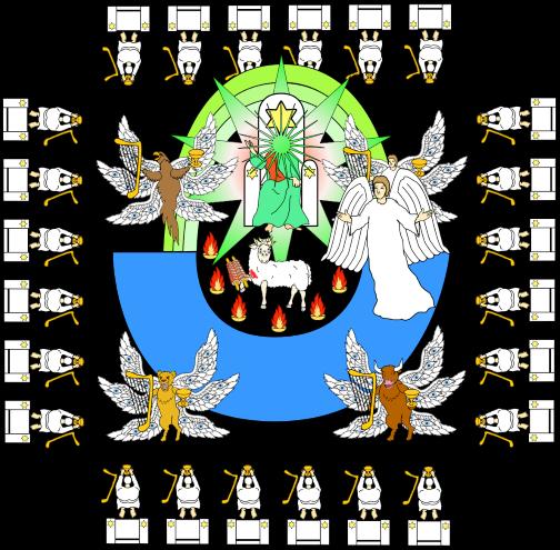 «A celui qui est assis sur le trône et à l'Agneau soient la louange, l'honneur, la gloire et la domination, aux siècles des siècles!» 14 Les quatre êtres vivants répondaient: «Amen!» Et les anciens se prosternèrent et adorèrent. »