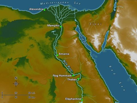 La Bible parle à plusieurs reprises du Nil, le plus long fleuve du monde avec presque 6700 km. Le Nil est la vie de l'Egypte; sans lui, le pays ne serait plus qu'un désert. Le delta du Nil offre les terres les plus fertiles et le papyrus. Joseph y était.