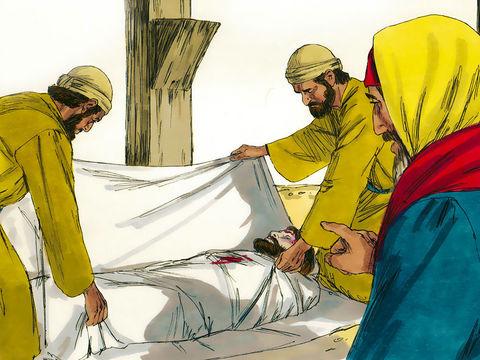 Un drap de lin a enveloppé le corps de Jésus. Joseph descend Jésus de la croix et l'enveloppe dans un drap de lin, puis il le dépose dans un tombeau taillé dans la roche.