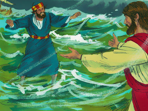 L'apôtre Pierre décide à son tour de suivre Jésus en marchant sur l'eau. Mais il prend peur à cause de la tempête et commence à s'enfoncer dans l'eau.