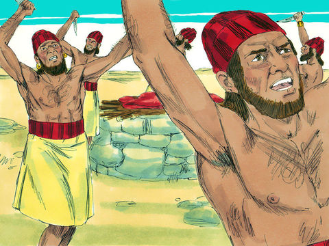 Les 450 prophètes de Baal invoquent leur dieu, font des incantations, se font des incisions. Il ne se passe rien.