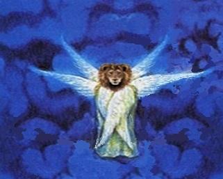 Jésus ouvre maintenant le deuxième sceau. A nouveau l'un des 4 êtres vivants qui se trouvent au milieu et autour du trône de Dieu dit « Viens ». Les 4 êtres vivants ont 6 ailes et personnifient les attributs de Dieu. Le lion représente la justice.