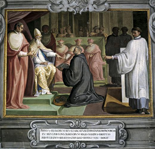 Afin de remercier le pape Zacharie et le pape Etienne II pour avoir légitimé le renversement des Mérovingiens, Pépin le Bref, cède au pape Etienne II, un territoire en Italie qui deviendra les Etats pontificaux ou Etats de l'Eglise.